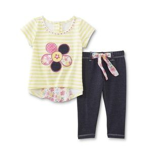 Young Hearts Girls High Low Top Jeggings set 4 NEW